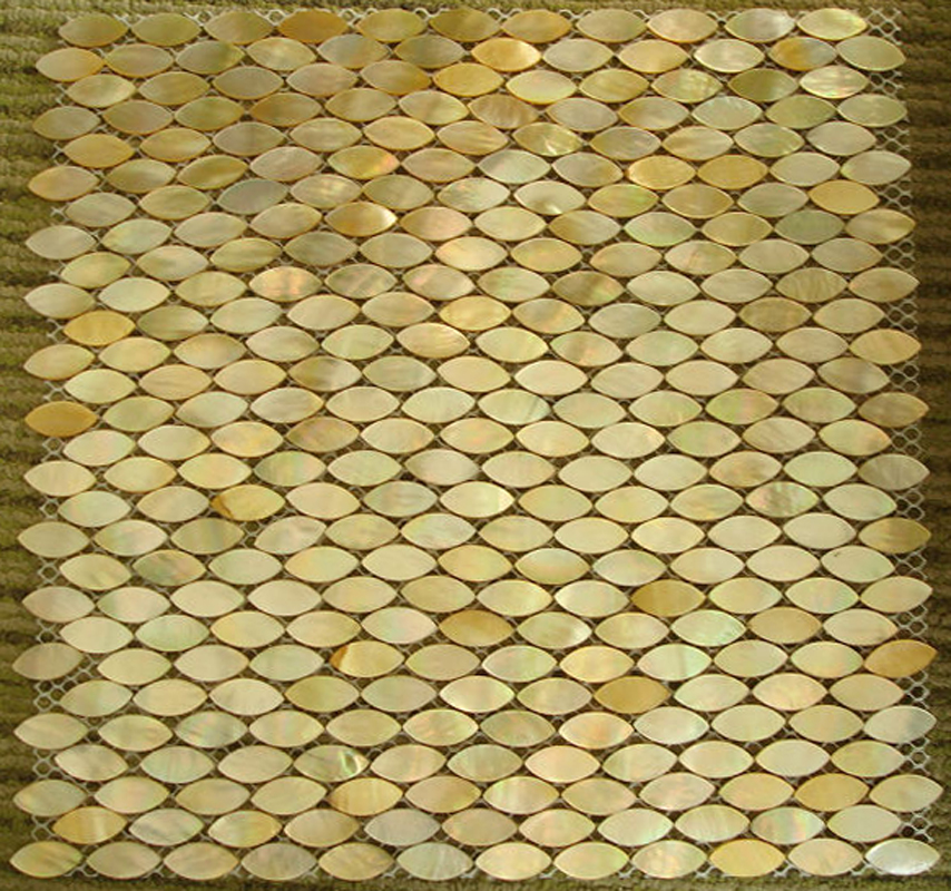 Gold Mother of Pearl Oval Shell Mosaic Sheet, 1 tile